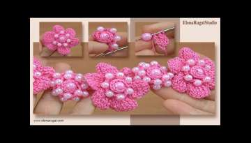Crochet Floral 3D Adornment with Beads Tutorial 134