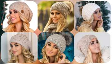 Hand knitted women's berets