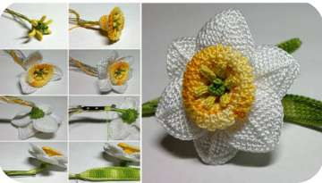 Making daffodil flowers with crochet fabric
