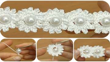 Flower chain with pearl in crochet