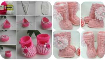 knitting models of boots and shoes for babies / children