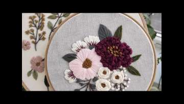 Pink and Burgundy peonies embroidery