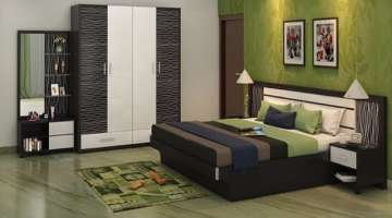 Bedroom cupboards and bed interior designs